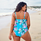 One Piece Swimsuit Large Size Floral Strappy Sexy Women Swimwear Plus Size Blue