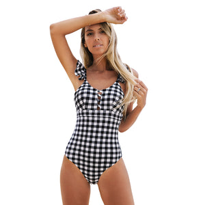 Black and White Gingham Ruffled One-Piece Swimsuit Sexy Cut-out Monokini - FrankyTee