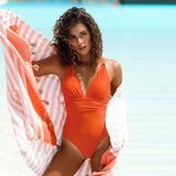 Sweet Solid Orange Deep V-Neck Shirred One-Piece Swimsuit Lace Up Beachwear - FrankyTee