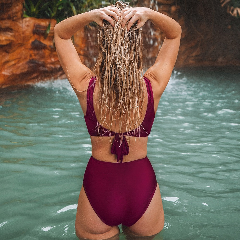 Burgundy Twist Cut Out Lace Up One-Piece Swimsuit Sexy Padded Monokini - FrankyTee