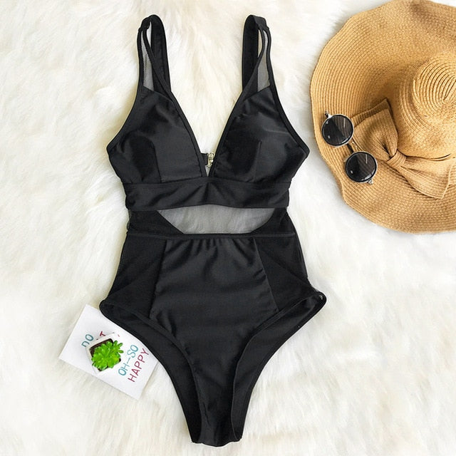 Sexy Black Mesh One-piece Swimsuit Solid V-neck Hollow Out Monokini - FrankyTee