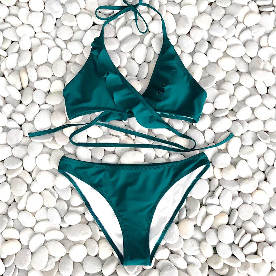Solid Green Solid Ruffled Halter Bikini Sets Lace Up Swimsuit Two Pieces Swimwear - FrankyTee