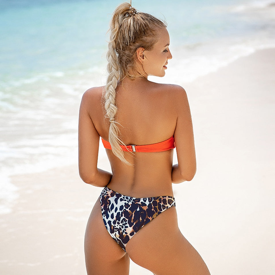 Sexy Orange and Leopard High-Leg Thong Bikini Sets Swimsuit Two Pieces - FrankyTee