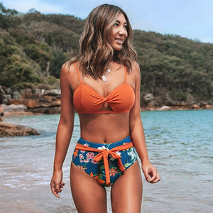 Orange and Floral Twist High-wasit Bikini Sets Swimsuit Two Pieces Swimwear - FrankyTee