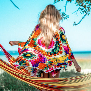 Colorful Floral Bikini Cover Up Woman Sexy See-through Lace Up Kimono Beachwear Suit