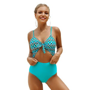 Aqua Cutout Knotted Spaghetti Straps Monokini One-Piece Swimsuit