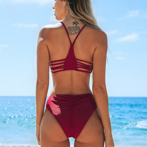 Wine Red Strappy Mid-waist Two Pieces Bikini Sets Swimwear