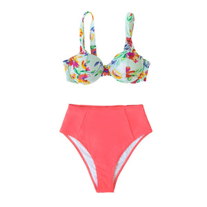 Floral High Waisted Fashion Bathing Suits Sexy Push Up Bikini Cut Out Two Pieces Swimwear