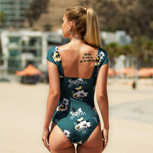 Cute Off Shoulder Green Floral Swimwear Shirred One Piece Monokini Swimsuit