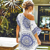 Maxi Bikini Blue Boho Print Cover Up Long Kaftan Sexy V-neck