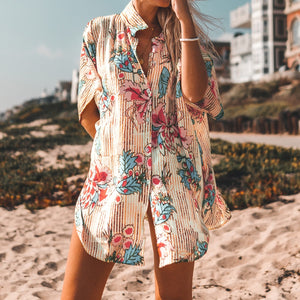 Robe Capes Floral Print Buttoned Cove Up Sexy Long Loose Beachwear