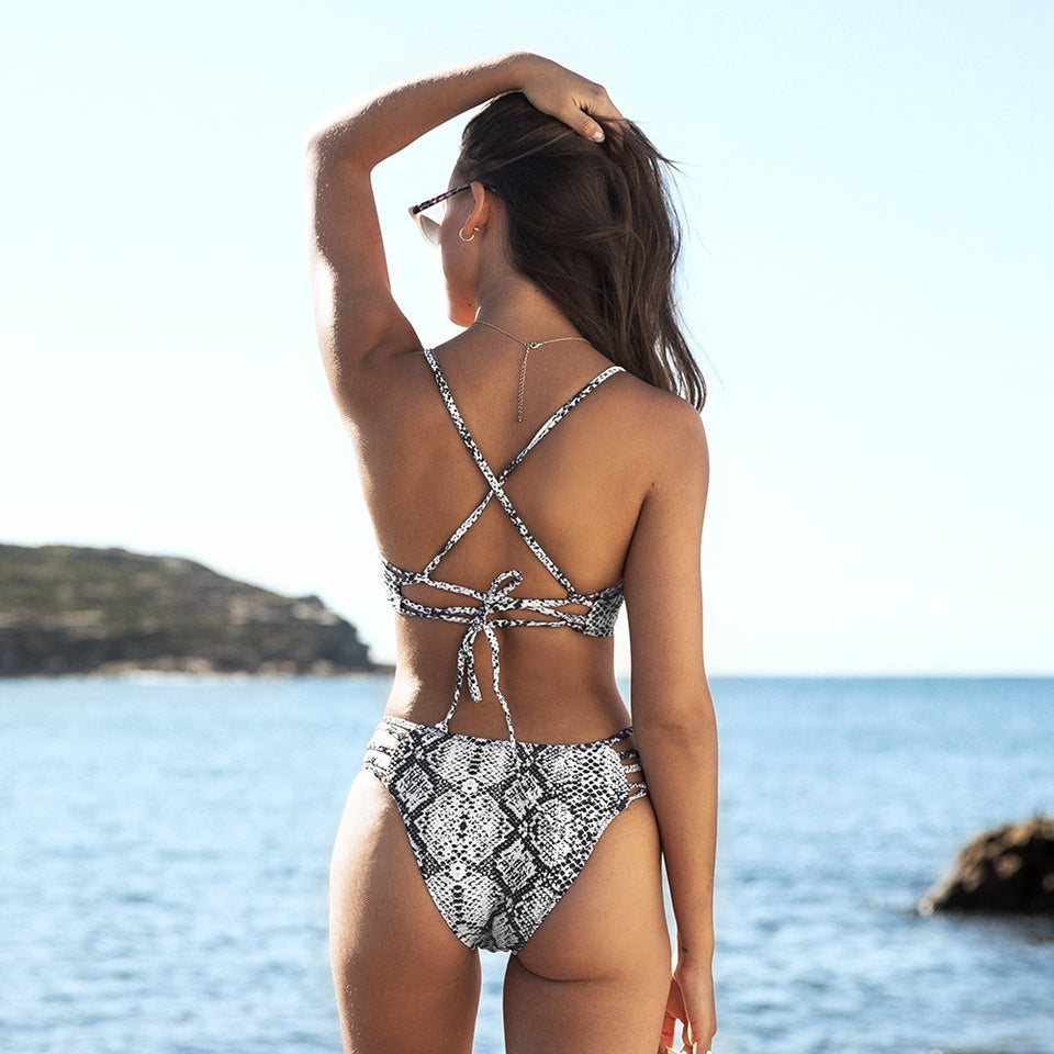 Snake Swimwear Strappy Lace Up Swimsuit Two Pieces Girls Beach Bikini Sets