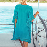 Sexy Cover Up Solid Blue Crochet Trim Bikini Loose Self-tie Square Beach Dress