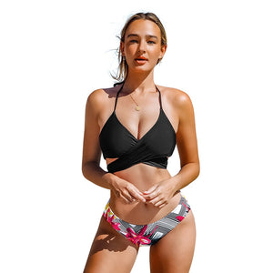 Black Floral Cross Halter Two Pieces Swimsuit Ladies Lace Up Bikini Sets