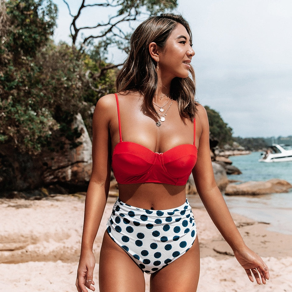 Red Polka Dot High-Waist Push Up Two Pieces Swimwear Bikini Sets Swimsuit