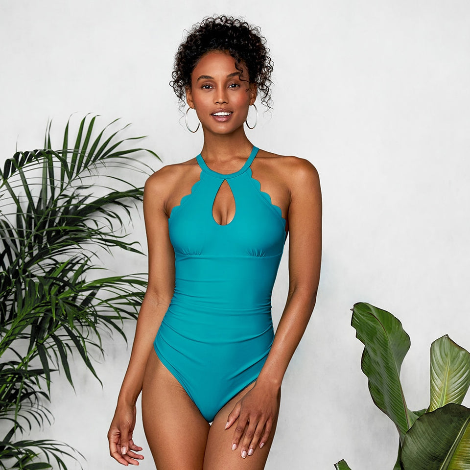 High Neck One Piece Blue Scalloped Cut Out Monokini Swimwear Solid Beachwear