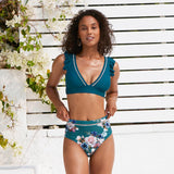 Blue Floral Two Pieces Swimsuits Ruffled V-neck Tank High Waist Bikini Sets
