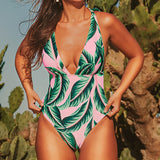 Palm Print Swimwear Deep V-neck Sexy Pink One Piece Swimsuit for Women Summer Fashion