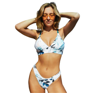 Sexy Leafy Thong Bikini Two Pieces Swimsuits Reversible Bottom Low-waist Bikini Set