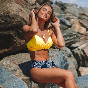 Yellow and Palm Design Bikini Push Up High Waist Two Pieces Swimsuits Bikini Sets