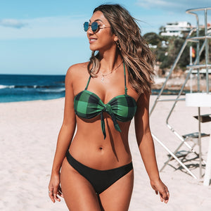 Low-waist Halter Bikini Sets Green Plaid Bandeau Girls Tank Swimsuit Two Pieces Swimwear