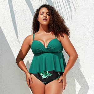Plus Size Green Leafy Push Up High-waist Bikini Women Sexy Large Size Tankini Swimsuit