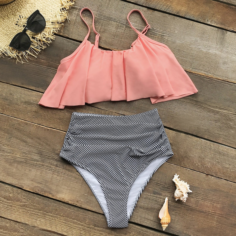 Tank Top Swimsuit Two Pieces Swimwear Pink and Stripe High Waisted Bikini Sets