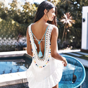 White Cover Up With Pastel Pom Poms Sexy Backless V-neck Cut Out Beachwear