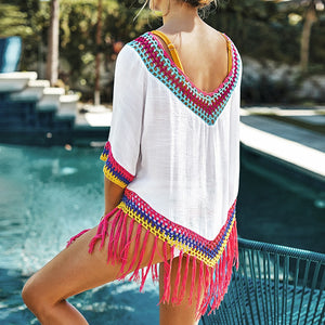 Beach Top Sexy White Cover Up With Rainbow Crochet Fringe Trim Deep V-neck