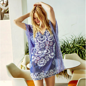 Chiffon Beach Tunic Dress Navy Floral Print Bikini Cover Up Sexy Loose V-neck Square
