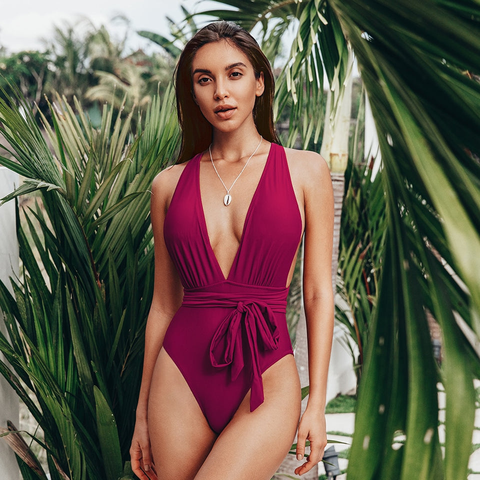 Backless Lace Up Monokini Red Deep V-neck One-Piece Swimsuit Summer Swimwear