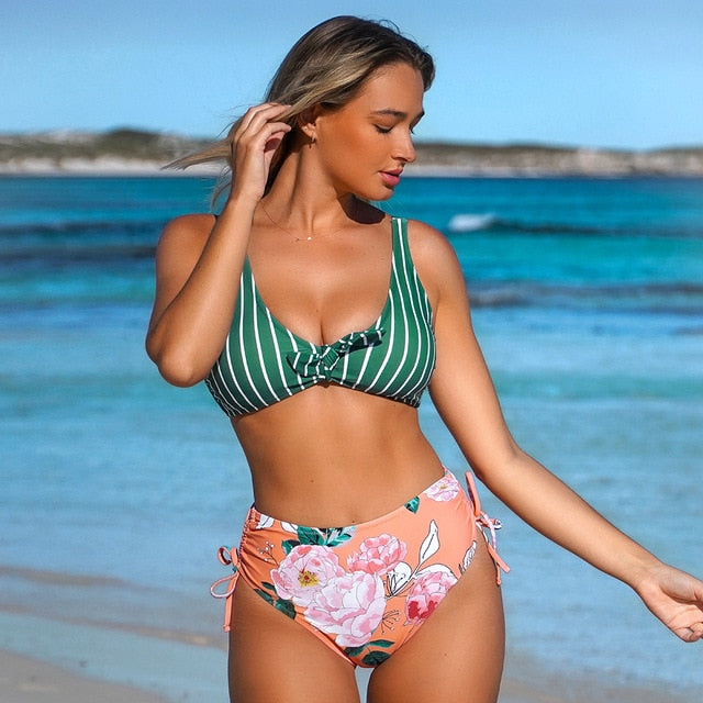 Green Striped and Floral Knotted Tank Two Pieces Bikini Sets Women Swimsuits