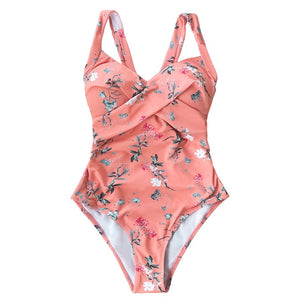 Pink Floral Open Back Knot Padded One-Piece Swimsuit Sexy Pink Monokin For Girls Suit Swimwear