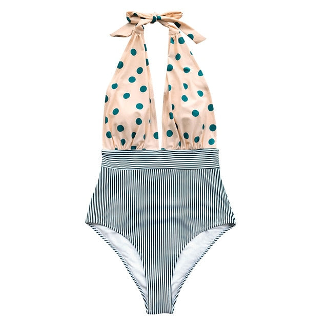 Retro Polka Dot Stripe Halter Fashion One-Piece Swimsuit Deep V-neck Style Swimwears