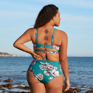 Plus Size Blue Floral Sexy Large Size Cut Out Two Pieces High Waist Bikini Sets New Swimming Suit