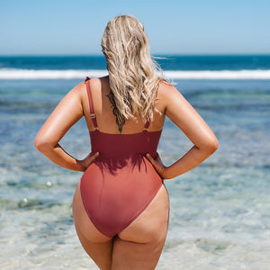 Plus Size Solid Coral V-neck Ruffled One Piece Swimsuit