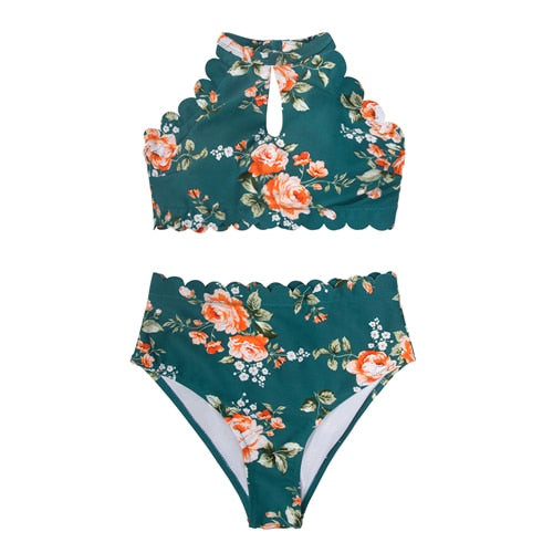 Sexy High Waist Two Pieces Swimsuit Green Floral Halter Bikini Sets Boho Bikinis