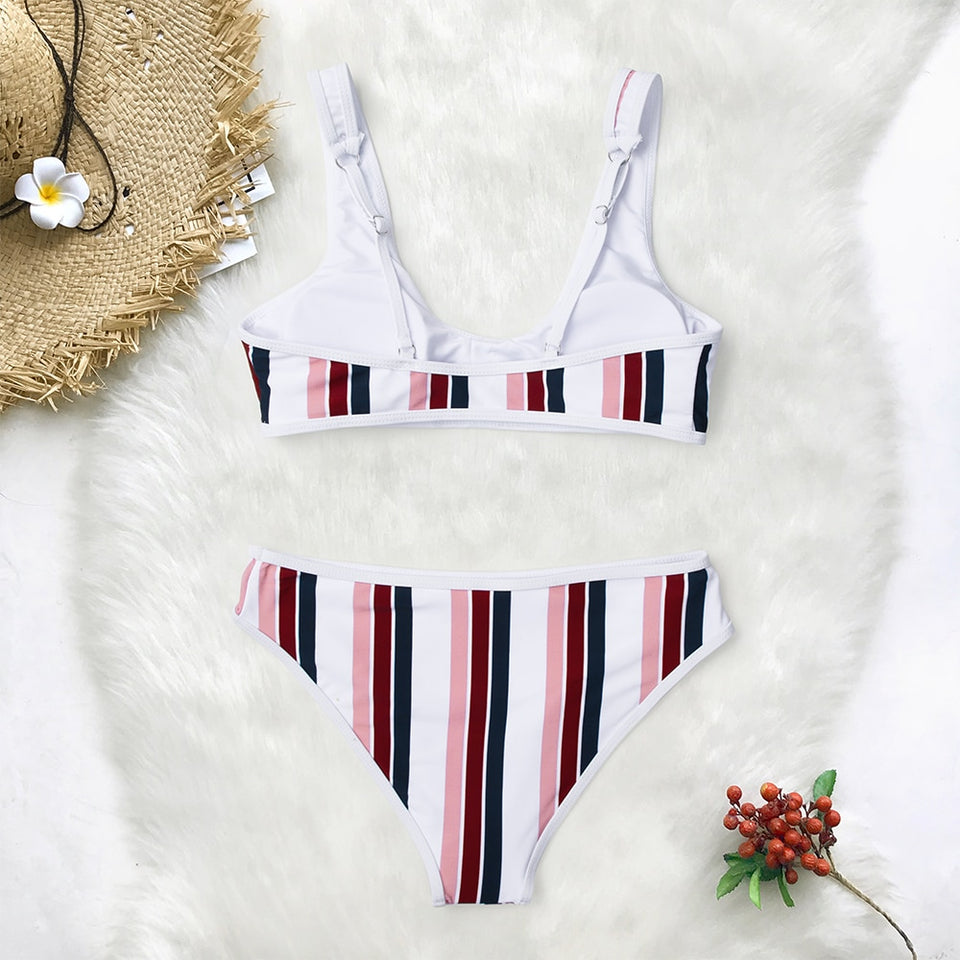 Scoop Neck Striped Bikini Sets Sweet Two Pieces Swimsuits Beach Bathing Suits - FrankyTee