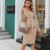 Two Pieces Skirt Suit Long Sleeve Female Cardigan & Midi Dresses - FrankyTee
