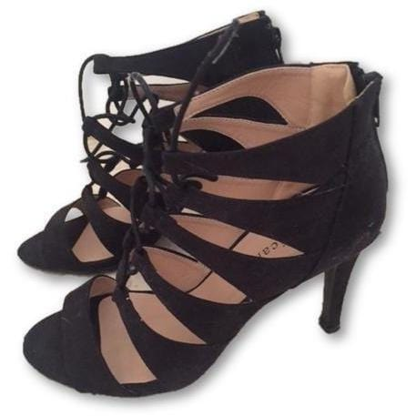 LULUS Black Suede Lace-Up Heels - Shoe Bank