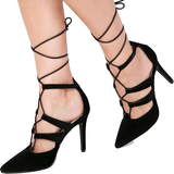 LULUS Black Suede Leg-Wrap Heels - Shoe Bank