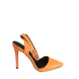 Orange sling back pumps
