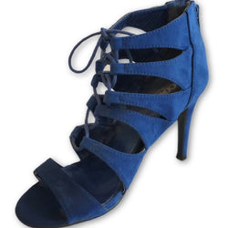 Scoop Blue Suede Lace Up Sandals - Shoe Bank