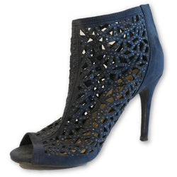 Scoop Open Toe Ankle Glitter Perforated Boots - Shoe Bank
