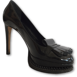 Moschino Black Patent Loafers - Shoe Bank