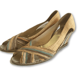 Cristian Firenze Beige Stripe Wedges - Shoe Bank