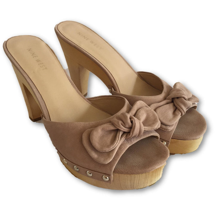 Nine West Wooden Mules - Shoe Bank