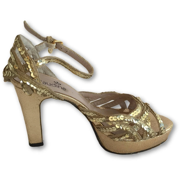 Claudina Gold Glitters Sandals - Shoe Bank