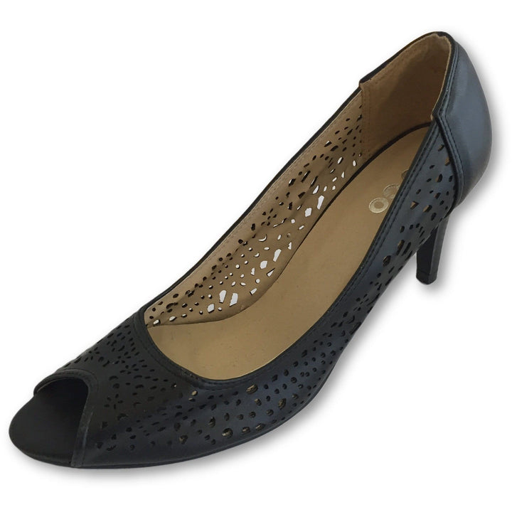 To Go Black Open Toe Pumps - Shoe Bank