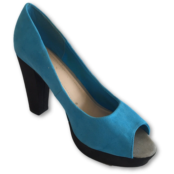 H&M Suede Peep Toe Block Heel - Shoe Bank